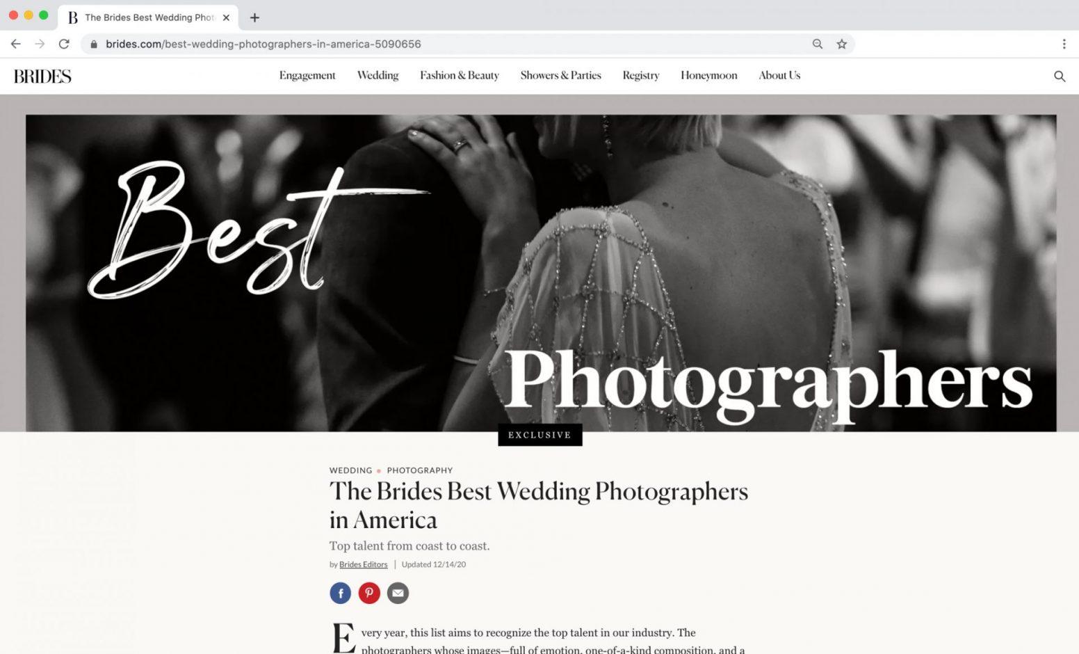 Edward Winter, Brides Magazine Best Photographers in America Feature