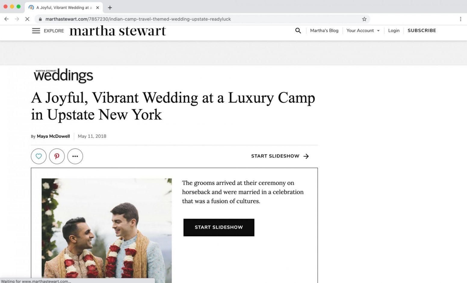 Edward Winter, Martha Stewart Weddings Feature