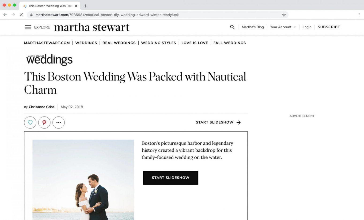 Martha Stewart Weddings Feature