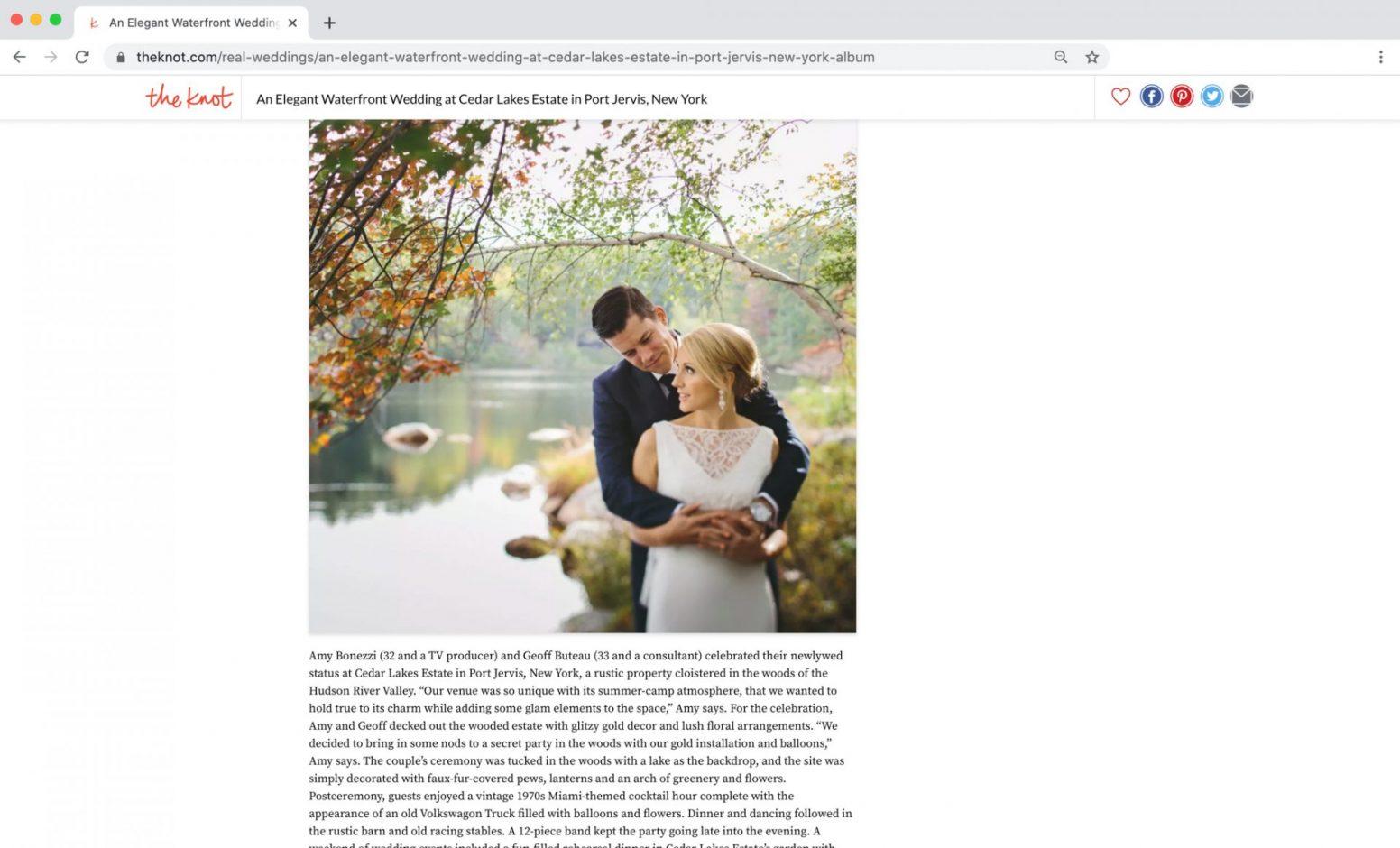 The Knot Magazine Feature Cedar Lakes Estate