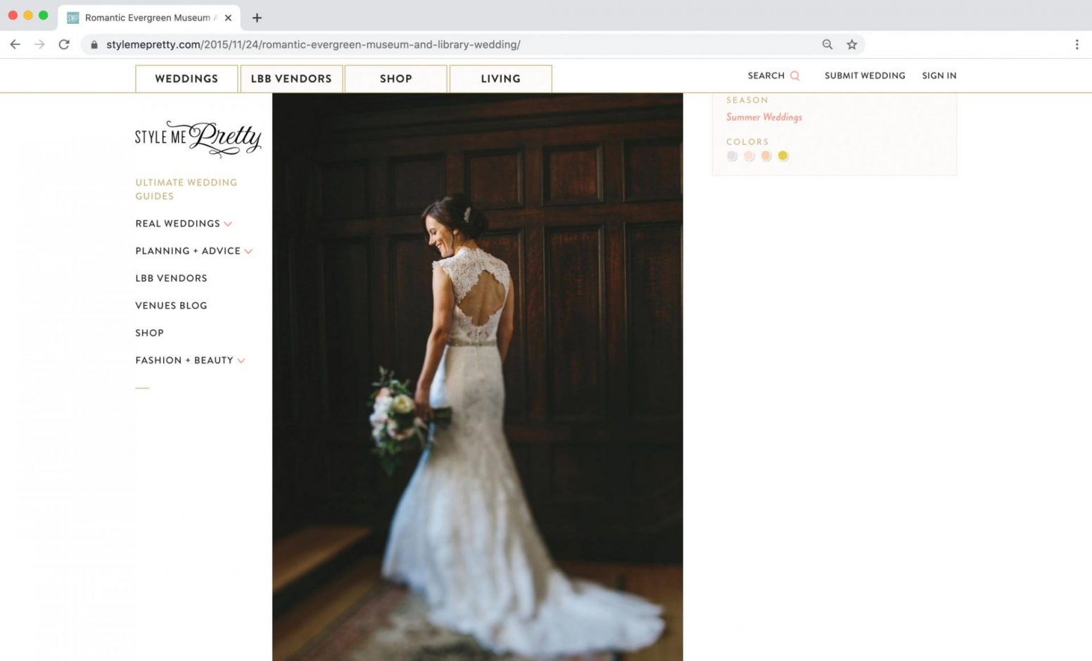 Style Me Pretty Feature Evergreen Museum Wedding